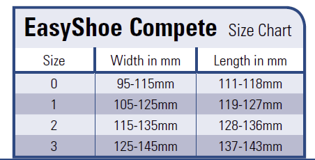 Sizing chart Compete Easyshoe