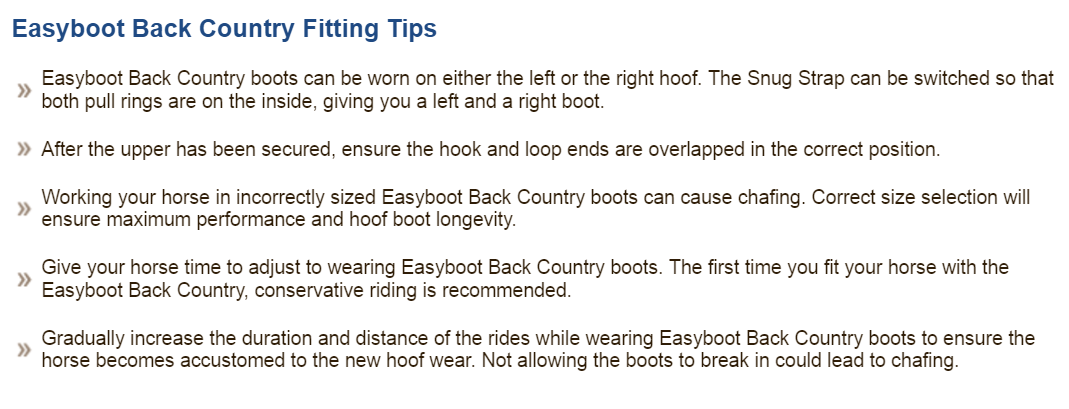 Back Country fitting tips