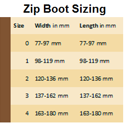 sizing chart for zip boot